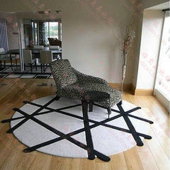 Fashion special-shaped black and white round carpet, geometric simple stripe, living room, tea table, carpet, bedroom bedside can be customized Custom disposable acrylic thickening White background