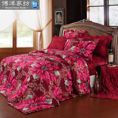 Bo Yang textile bedding cotton bed wedding suite activity pure cotton satin printing four pieces gorgeous color sensation 1.5m (5 feet) bed