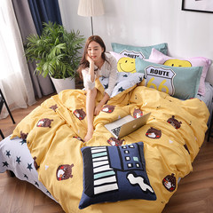 Pure cotton cartoon four piece set of children cotton spring and summer suite 1.5m1.8 m bed goods quilt sheets 4 set special price 1.5m (5 ft) bed