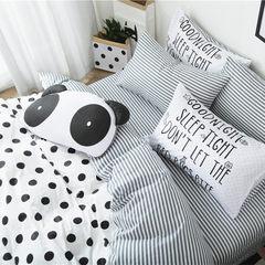 全棉ins波点个性四件套 纯棉条纹简约森女系公主北欧风被套床单 熊猫抱枕+套件 1.2m(4英尺)床