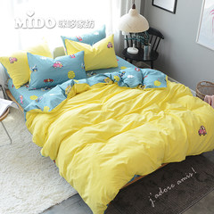Cartoon simple ins wind small clean cotton embroidery wash Cotton Quilt Set cotton sheet four sets of bedding Bed linen 1.5 meters /1.8 meters (quilt cover 200× 230)