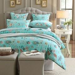 American 60 Egyptian cotton sateen cotton cotton quilt bed linen double four piece set post Bed linen Blue Weiss 1.2m (4 feet) bed