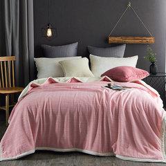 加厚双层珊瑚绒毛毯法兰绒毯子秋冬季沙发盖毯纯色素格贝贝绒床单 110x110CM/送云貂绒毯