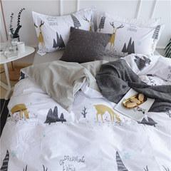 北欧ins风简约卡通全棉被套被罩四件套纯棉1.8m床单床笠床上用品 床单款 麋鹿 加大号(被套220×240的)
