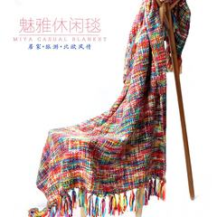 The export model of the housing decoration leisure sofa blanket blanket fringed shawl camera a decorative bed tail blanket blanket 125x160+10x2cm
