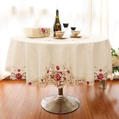 High-end European square round table cloth cover cloth embroidered wedding simple modern anti hot round table cloth Color embroidery (fabric size) 1011# Round 200