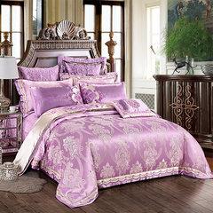 Jun Rong home textiles European luxury model bedding, Satin Jacquard, purple, blue purple ten pack purple ten piece 1.5m (5 ft) bed.