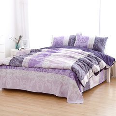 Foreign trade of four double 1 meters 5/1 meters 8 bed increase cotton satin twill bedding soft version AB Four pieces of purple rhyme of AB Edition 1.8m (6 feet) bed