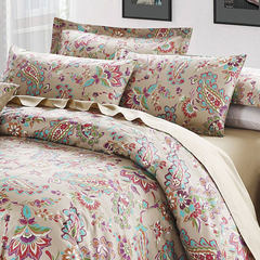 Egyptian cotton genuine four piece 60S pure cotton satin printing kit 1.5m1.8 m bed four piece set spring summer style Tang CAI (bed sheet) 1.5m (5 ft) bed