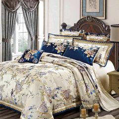Jun Rong home textiles Silk Satin Jacquard wedding bedding, multi suite suite, model room, 4, 6, 80 pieces, sheets six piece (Lan Jinshai) 2.0m (6.6 feet) bed