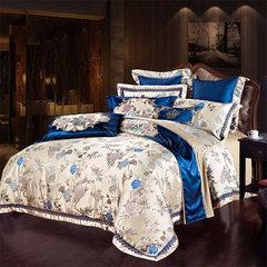 Model room high-end European style bedding, four piece Blue Satin Jacquard, sixty eight piece set, multi piece suite, ten piece (blue camel) 1.5m (5 ft) bed.