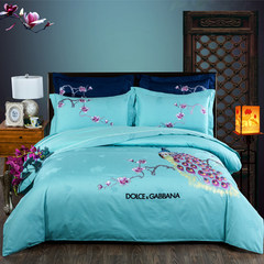 60 long velvet, all cotton satin four piece set, pure cotton bedspread, quilt set, Feng dance, peacock Embroidery Flower Bed Suite, Feng dance, sky blue 1.5m (5 ft) bed.