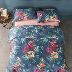Spring and summer new products 12 flower pattern 60 cotton all Satin four piece long staple cotton bed products package 1.8m (6 feet) bed
