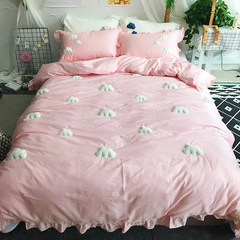 The 60 set of three or four lovely children cotton satin sheets 1.8m 1.2m single bed in autumn and winter 60s pure cotton cloud powder 1.2m (4 feet) bed