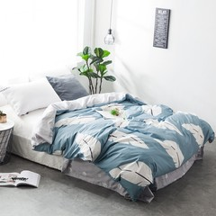 Cotton bed four piece set of pure cotton three piece set of student dormitory bedsheets, quilt cover, bed 1.8m, children bed goods, bed hat, Pu Ye 2.0m (6.6 ft) bed.