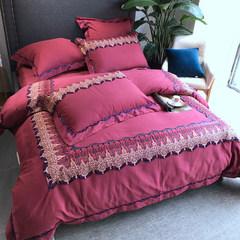 Autumn and winter import 60 cotton lace sanding European cotton cotton four set wedding bedding Karin 1.5m (5 feet) bed