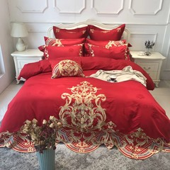 European and American high-end wedding bedding, wedding scarlet embroidery embroidery jacquard Quilt Set four pieces of pure cotton multi piece set [Le Louvre Museum] - nine piece set 1.5m (5 feet) bed