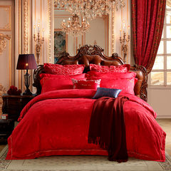 LOVO Carolina textile bedding wedding celebration of life produced four sets of bedding sheets sheets of red loved life Love one's life 1.5m (5 feet) bed