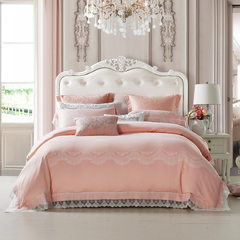 Roley home textile flagship store wedding six sets of bedding bedding, pink Jacquard lace quilt cover The real shooting (Carolina direct to ensure genuine) 1.8 bed with 220*240cm core