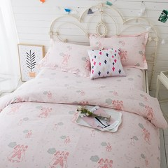 Unadorned color princess, children's pure cotton bedding, small girls, cotton bed sheets, cartoon pink four sets MS-GZRJ (sheet money) 1.5 meter bed (quilt cover 200x230) four piece set
