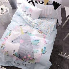 开学季纯棉四件套 单人床品 全棉印花床品儿童套件小清新被子被芯 1.0m(3.3英尺)床