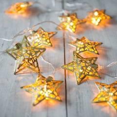 New hollowed star modeling iron art LED Christmas decoration flashing lamp bedroom outdoor wedding lantern waterproof 3 meters 20 lamp battery waterproof remote control