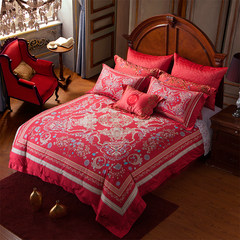 Many European luxury villas Su textile red wedding bed 60 cotton satin four sets of digital printing Dear 1.5m (5 feet) bed
