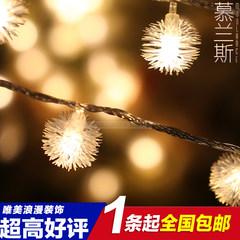 LED lights, flashlights, string lights, string lights, snowflakes, balls, strings, weddings, Christmas trees, stars, lights, purple 5 meters, 50 lights, battery lights.