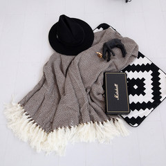 Slim house, autumn and winter limited Plaid tassels blanket, sofa blanket, cover blanket, decorative blanket, Nordic blanket leisure blanket 180x130cm Brown Plaid fringe blanket