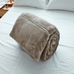 Winter thick flannel blanket Muji double anti-static blanket blanket Hugh meridian lazy coral carpet yield Plain goose 80 white 200*230 Rice coffee