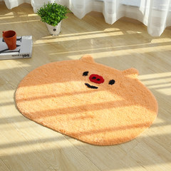 Oval cartoon pig pad door doormat mat bedroom bathroom cleaner water antiskid mat can be washed by hand 40× 60CM The color of snow - pig