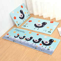 Cute suede carpet door mat, floor mat, bedroom, floor mat, bathroom, kitchen, bathroom, water absorbent, anti-skid pad 40× 60CM happy bird