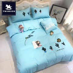 Cotton 4 sets of bedding, children's four sets of pure cotton girls cartoon embroidered 1.5m bed 1.8m double Cactus 1.8 meters bed suitable for quilt 200*230