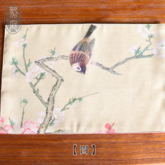 Chinese meal pad, cloth printing table, thermal pad, bowl mat, coaster table protection, decorative flower and bird tableware MAT PAD Fine brushwork flower and bird 4#527 Customized do not change, take the change