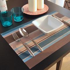 European style PVC mat, creative heat insulation anti scalding pad, bowl cushion, washing high grade table mat, wide stripe Blue PVC 65+17 vertical *70CM