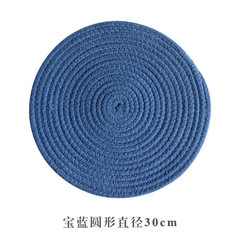 Creative Nordic thick cotton thread thickening circular square heat insulation pan cushion weaving table mat home dining table mat anti-ironing diameter 30cm(4 pieces) sapphire blue