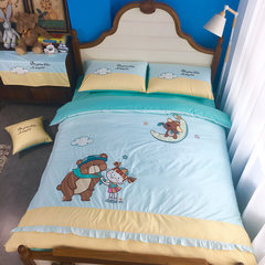 Cartoon girl four piece of cotton bed sheets 1.2m1.35 m children fitted lace cute Suite Blue yellow 1.0m (3.3 feet) bed