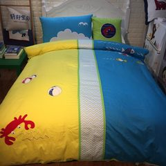 Yellow cotton flannelette bed cartoon four piece children four cotton bedding bedding Suite Ocean legend sheets 1.0m (3.3 feet) bed