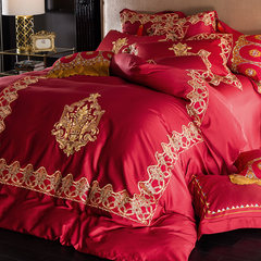 Western style wedding embroidery four piece 60 cotton 4 piece wedding textile bedsheets six or seven piece Bed linen Scarlett 1.5m (5 feet) bed