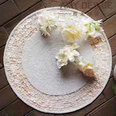 European style luxury, elegant shell beads, restaurant mat, round western food pad, heat insulation pad, table mat, hotel supplies White shell (spot).