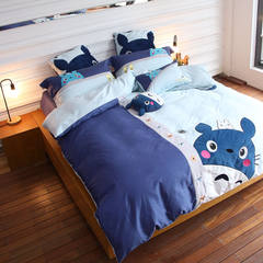 Japanese cotton four piece suite 1.2/1.5/1.8m bedding quilt cotton cartoon chinchillas children Totoro 1.2m (4 feet) bed