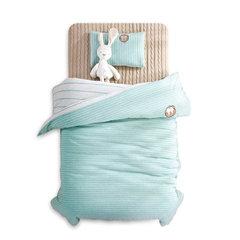 新知生活针织棉长绒棉纯棉婴童儿童套件床单款可裸睡条纹五件套 紫条-婴童套件 其它