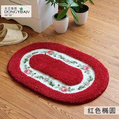 Bedroom door mat bedside carpet bathroom kitchen bathroom bathroom hallway door mat anti-skid suction door mat 80× 160CM red oval
