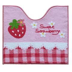 Cute cartoon strawberry mats bathroom bedroom water wash bath toilet mat anti-skid pad 60× 90CM Concave mat (lace strawberry)