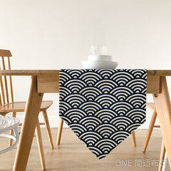 With Japanese style and retro wave stripe runner deep blue tablecloth table cloth TV cabinet table pad double cloth The wind and wave flags 65+17 vertical *180cm