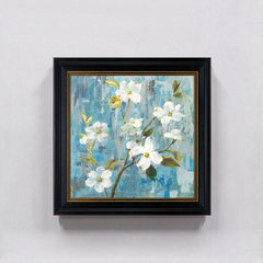 Simple modern American Pastoral white flower decorative painting, European style living room, bedroom, bedside restaurant, hanging paintings 50*50 Simple white clean frame B Home brand originality