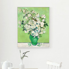 Flower modern decorative painting, metropolitan museum entrance, vertical frameless painting, single mural painting, European style 40*50 (CM) Other types Rose (Van Gogh) Oil film laminating + low reflective organic glass