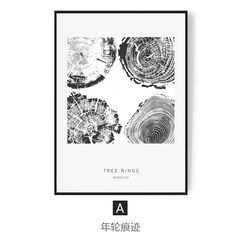 The fate of simple living room sofa backdrop decoration painting wall mural paintings abstract black and white bedroom bedside ring 73*103 34mm thickness A: ring marks Fortune's single price