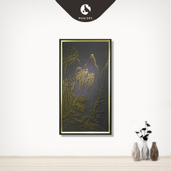 Maggie pictures of new Chinese style landscape painting decorative painting handmade nail entrance real painting paintings Villa Hotel 50*70 (CM) Simple black wood grain frame Artistic conception and landscape Oil film laminating + low reflective organic