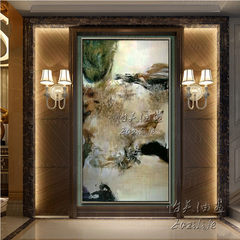 Pure hand-painted oil painting, simple abstract painting home, modern living room hanging painting aisle, vertical version, porch decoration, hanging murals 50*50 Silver T word frame Oil film laminating + low reflective organic glass